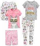 Carter's Baby-Girl Toddler 5-Piece Cotton Snug-Fit Pajamas, Dog Glasses, 3T