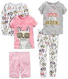 Carter's Baby-Girl Toddler 5-Piece Cotton Snug-Fit Pajamas, Dog Glasses, 5T