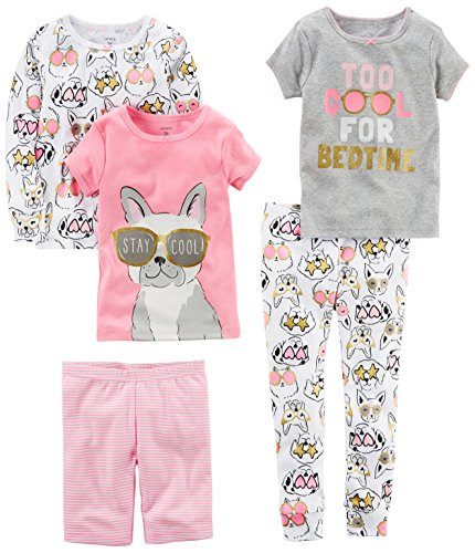 Pjs Long 2 Piece - Carter's Girls' Toddler 5-Piece Cotton Snug-Fit Pajamas, Dog/Glasses, 4T