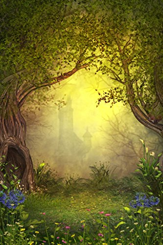 Magical Castle in Fairy Woods Flowers Trees Fantasy Picture Art Print Poster 12x18 inch