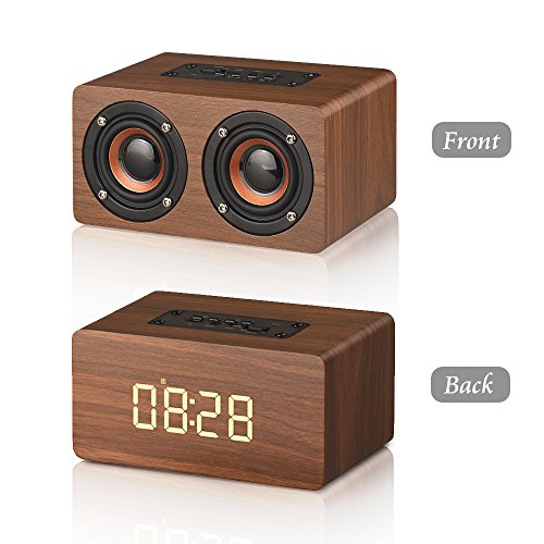 MODAR Bluetooth Speaker Digital Alarm Clock Wooden, V4.2 Portable Wireless 10W Dual Driver Speakers, 1500 mAh, LED Time Display, TF-card, AUX, FM Radio (Brown Wood Grain)
