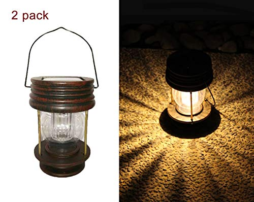 Obell Hanging Solar Lights 2 Pack Outdoor Garden Lamp LED Vintage Hanging Solar Lanterns with Handle for Pathway Yard Patio Decor Tree Beach Pavilion Lights (Warm Light) Review