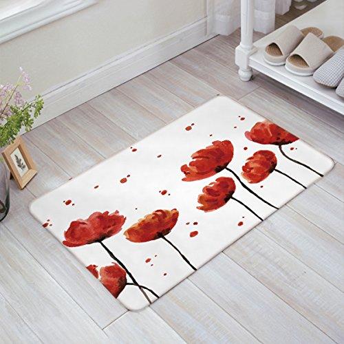 Libaoge Vintage Red Poppy Flower Trumpet Flower Print Doormat Welcome Mat Entrance Mat Indoor/Outdoor Door Mats Floor Mat Bath Mat