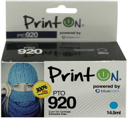 PrintOn Inkjet Cartridge PTO920C compatible with CD972AL HP #920C Cyan