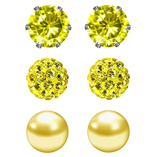 JewelrieShop Cubic Zirconia Rhinestones Crystal Ball Faux Pearl Birthstone Stud Earrings for Women Girls - Hypoallergenic Stainless Steel Earrings - 3 Pairs - Yellow (Nov.) ()