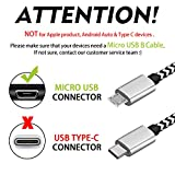 Micro USB Cable 10ft,[3 Pack] Extra Long Fast Charging Cord Nylon Braided High Speed USB Durable Android Charger Cable for Samsung Galaxy S7 Edge/S6/S5,Android Phone,LG G4,HTC,Echo Dot (2nd)
