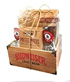 Gift Baskets Manly Mans Meat and Snack Attack Gift Baskets - Lots To Choose From (Wooden Crate Food Gift -Budweiser)