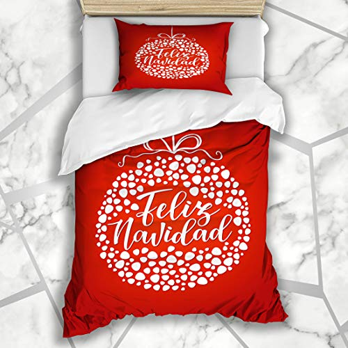 (Ahawoso Duvet Cover Sets Twin 68X86 Happiness Candle Feliz Navidad Spanish Lettering Red Winter Holidays Celebration Christmas Creative Microfiber Bedding with 1 Pillow Shams )