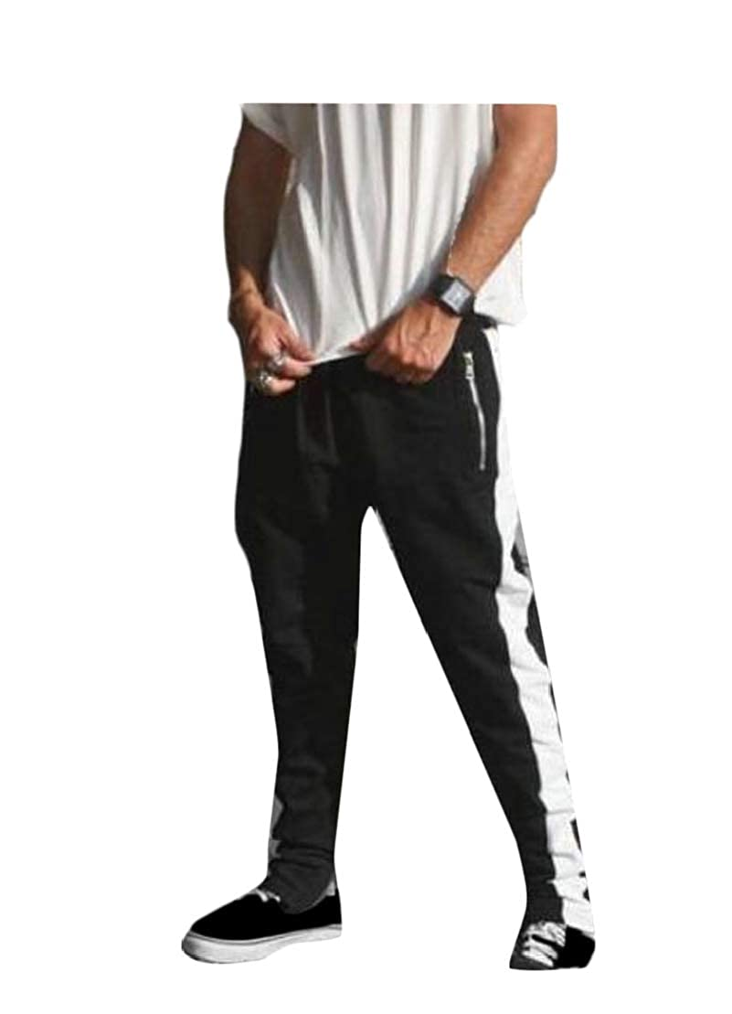 Wofupowga Mens Contrast Trousers Zipper Sports Elastic Waist Pants