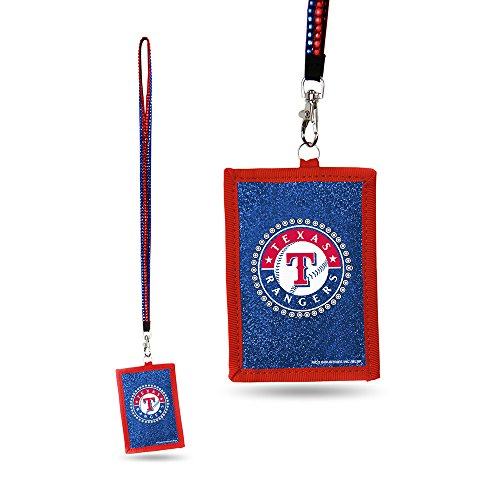 - Rico MLB Texas Rangers Beaded Gem Lanyard with ID Wallet