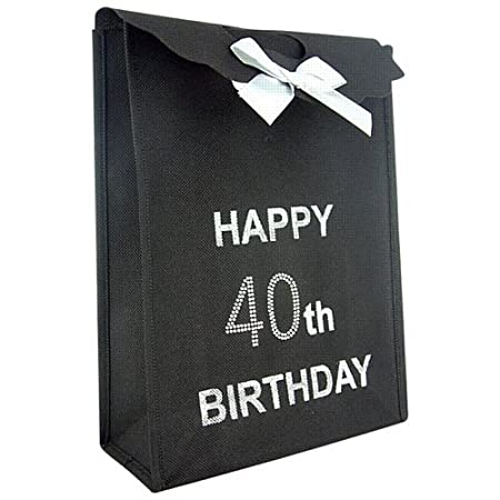 40th Big Birthday Happy Black Gift Bag With Diamantes Amazoncouk Kitchen Home