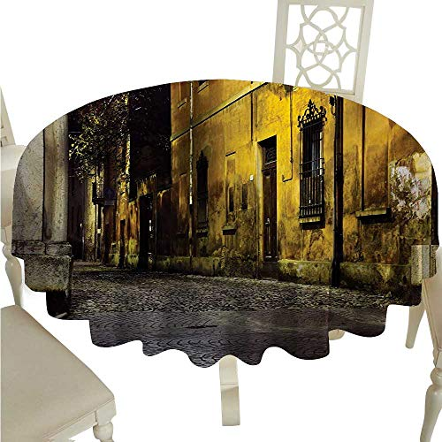 Street Flow Spillproof Fabric Tablecloth Old Ancient Empty Dark City Streets Avenues with Homes Photograph Civilization Print Washable Polyester - Great for Buffet Table, Parties, Holiday Dinner, W -