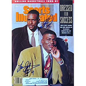 Johnson, Larry & Augmon, Stacey 11/19/90 autographed magazine