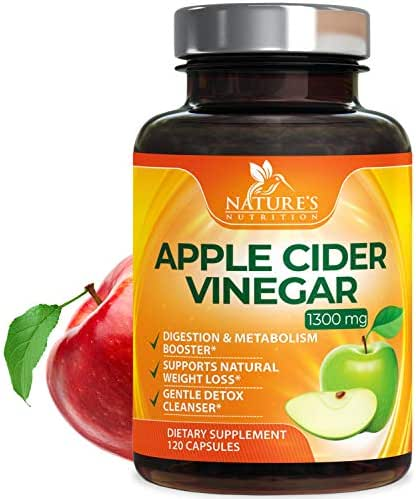 100% Natural Raw Apple Cider Vinegar Pills - Highest Potency 1300mg - Weight Loss Appetite Suppressant, Made in USA, Best Vegan ACV, Metabolism Fat Burner & Detox Cleanse Supplement - 120 Capsules