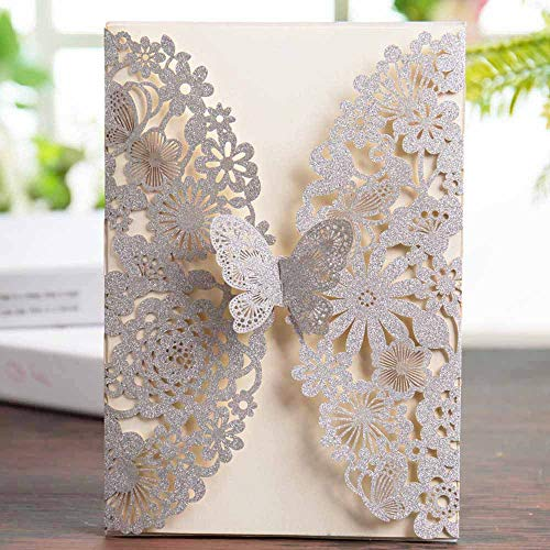 Wishmade Silver Glitter Laser Cut Wedding Invitations Cards with Butterfly Lace Flower Design for Birthday Party Favors (Set of 20pcs) (The Best Wedding Invitations Design)
