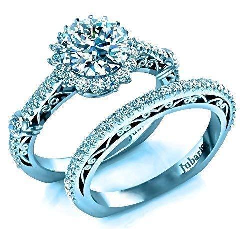 Other Fine Rings Professional Sale 1.60 Ct Round Brilliant Moissanite Ring 14k White Gold Diamond Bridal Ring Set