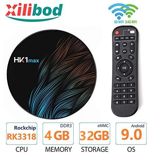 Toplevel Android TV Box 9.0 HK1 Max 4GB RAM 32GB ROM 5.8G/2.4G WiFi with Bluetooth RK3318 Quad-Core 64bit Cortex-A53 3D…