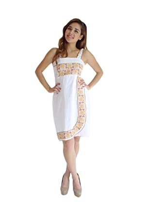 cac0d62008c Mexican Clothing Co Womens Mexican Dress Contemporary Nahua Veracruz Manta  CT Small White 0929
