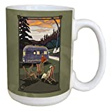 Tree-Free Greetings 45813 Paul A. Lanquist Airstream Camping Ceramic Mug with Full-Sized Handle, 15-Ounce