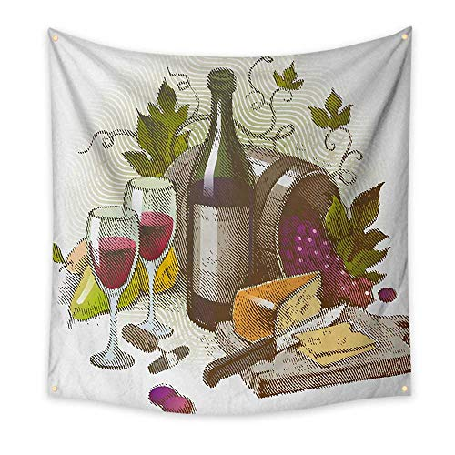 ParadiseDecor Wine Wall Tapestry Vintage Style Composition with Wine and Cheese Fruits Gourmet Taste Beverage and Food Colorful Tapestry 39W x 39L InchMulticolor from ParadiseDecor