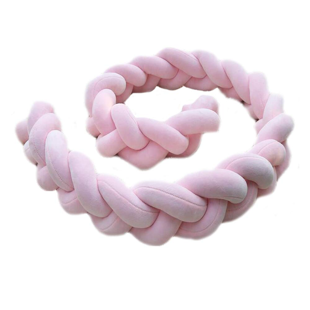 Baby Crib Bumpers Braids Protective Snake Pillow Home Decoration 39'' 59'' 79'' (300cm, Pink)