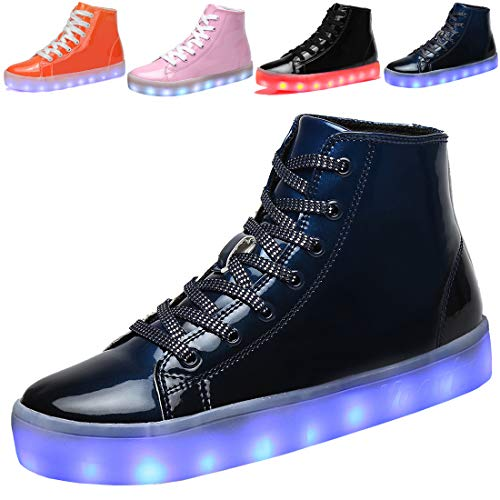 Voovix Kids LED Light up Shoes USB Charging Flashing High-top Sneakers for Boys Girls Child Unisex(Blue,38) (Lite Recharge)