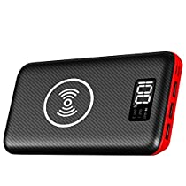 Portable Charger Power Bank, Kedron 24000mAh Wireless Charger with LED Digital Display and 3 Outputs & Dual Inputs External Battery Pack for iPhone X, iPhone 8,Samsung Galaxy S8 Note 8 and More