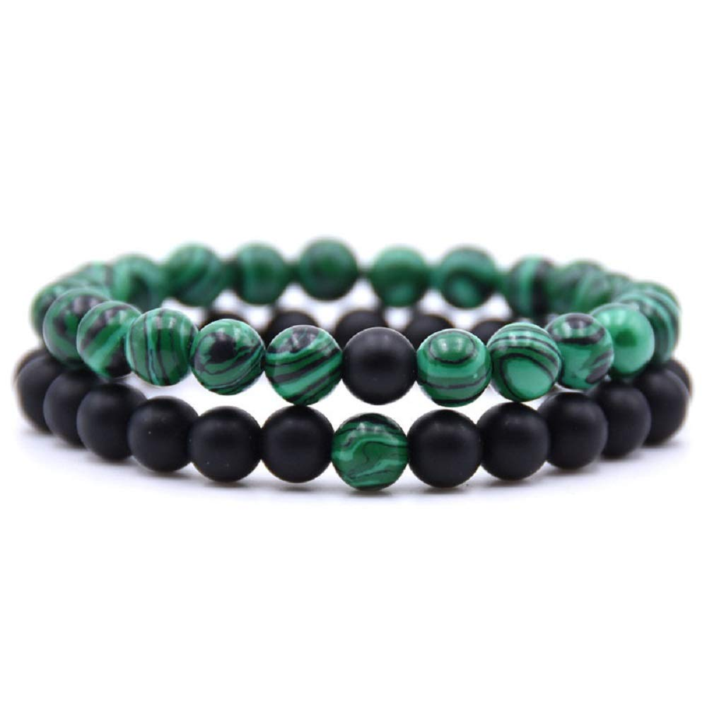 Jiami 2 Pcs Distance Relationship Bracelets Black Matte Agate & White Howlite Beads His and Hers Couple Bracelet, Green and Black by Jiami
