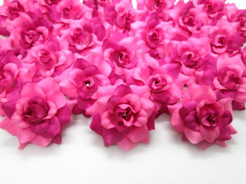 (100) Silk Two Tone Dark Pink Roses Flower Head - 1.75' - Artificial Flowers Heads Fabric Floral Supplies Wholesale Lot for Wedding Flowers Accessories Make Bridal Hair Clips Headbands Dress