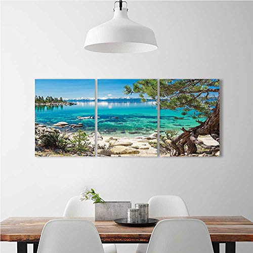 Frameless Tahoe Snowy Reflection on Clearwater Rocky Shore Romantic View Aqua Ivory Green for the kitchen, dining room, living room, bar and so on W24