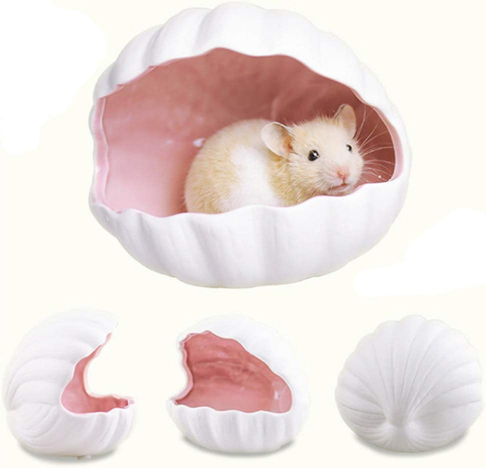 gutongyuan Small Animal Nest Hideout Hamster House Critter Bath Adorable Shell Shape Ceramic Igloo Cave for Gerbils Chinchillas Hamster Mice Rat