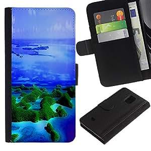 iKiki Tech / Cartera Funda Carcasa - Islands Tropics Nature Blue Ocean Sea - Samsung Galaxy S5 Mini, SM-G800, NOT S5 REGULAR!