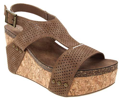 Stud Platform Cork Shoes - Sugar Women's Junebug 2 Platform Cork Wedge Sandal 10 Cognac