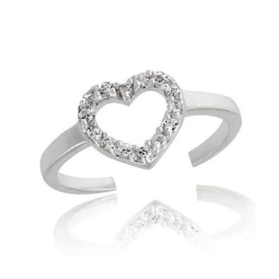 fc7e13f47 Sterling Silver Open Heart Cubic Zirconia Toe Ring: Royal Design: Amazon.co. uk: Jewellery