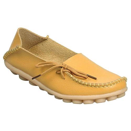 Tenthree Mujer Zapatos Mocasines Pisos - Mocasines Cuero Conducir Slip-On Bote Zapatos Damas Cordones Chicas Moda Tobillo Bombas: Amazon.es: Zapatos y ...