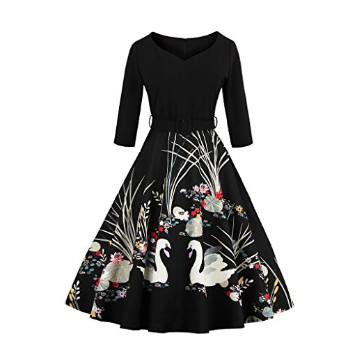 Kleid EU Vintage Damen M1338 36 S 50er Retro Cocktail Schwarz DISSA Rockabilly nwASqX0vxx