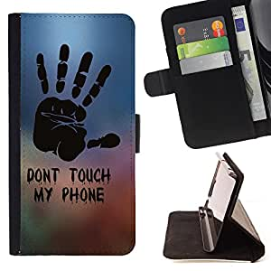 Devil Case- Estilo PU billetera de cuero del soporte del tir¨®n [solapa de cierre] Cubierta FOR Samsung GALAXY ALPHA G850 SM-G850F G850Y G850M- Don't Touch My Phone