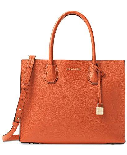 (Michael Kors Women's Mercer Large Leather Tote Bag, Orange, OS)