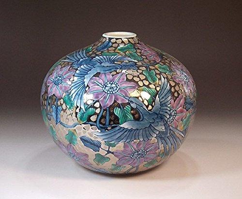 有田焼伊万里焼の陶器花瓶プラチナ鳳凰|贈答品|ギフト|記念品|贈り物|陶芸家 藤井錦彩 B00LGD0140