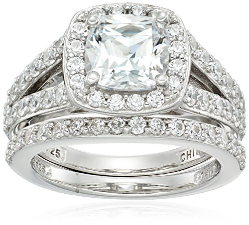 Platinum-Plated Sterling Silver Halo Ring set with Cushion Cut Swarovski Zirconia (2.41 cttw), Size 7