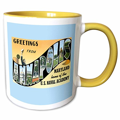 3dRose BLN Vintage US Cities and States Postcard Designs - Greetings from Annapolis Maryland Home of the Naval Academy - 11oz Two-Tone Yellow Mug - Outlets Annapolis