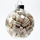 Antique Bible Christian 2.62 Inch Glass Christmas Ornament from 1903 Family Bible - 1/4 inch strips