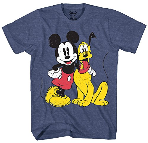 Mickey Mouse & Pluto Classic Distressed Vintage Dog Disney World Disneyland Funny Mens Adult Graphic Tee T-Shirt (Large)
