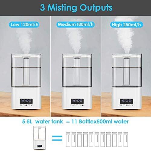 5.5 L Humidificateur Ultrasonique Silencieux,Humidificateur à brume fraîche avec huiles essentielles diffuses et lumières LED 7 couleurs, Arrêt automatique sans eau, télécommande pour Maison y Burea