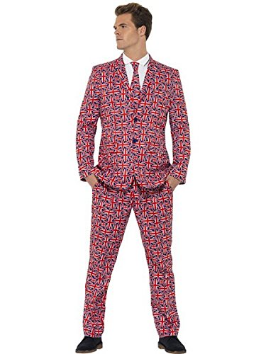 [Smiffy's Men's Union Suit, Jacket, pants and Tie, Stand out Suits, Serious Fun, Size M, 43520] (Jack White Halloween Costume)