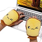 USB Hand Warmer Heated Gloves MOPO Toast Hand Warmers Winter Hot Finger-less Gloves USB Heating Warm Hands Gloves Powered Wearable Fingerless USB Gloves Christmas Gift for Children and Women