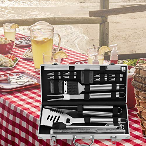 ROMANTICIST 23Pc Heavy Duty BBQ Grill Tool Set with Grill Mat- Great Grill Gift for Men Dad on Fathers Day - Stainless Steel Outdoor BBQ Grilling Utensils Kit with Grill Thermometer in Aluminum Case
