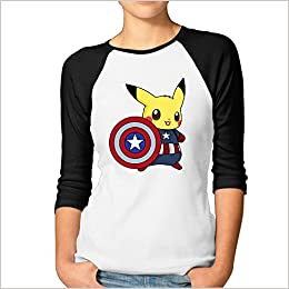 c3849b56a Amazon.com: Captain Pikachu Women 3/4 Sleeve Raglan Shirt Summer Casual  (6310926007422): Books
