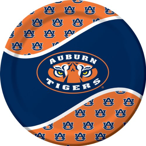 8-Count Paper Dinner Plates, Auburn Tigers