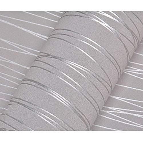 Wallpaper Stripe Modern (Bloss Wallpaper Modern Minimalist Luxury Gorgeous Wall Covering Paper Decoration Stripe Wall Paper for Home Hotel Office Metallic Silver Grey)